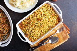 Traditional stuffing side dish for Thanksgiving in a baking pan