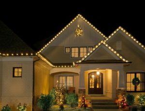 C7 LED christmas lights on a roof line of a home